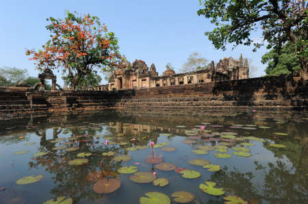 buriram: archaeological site of Prasat Muang Tam on Thailand