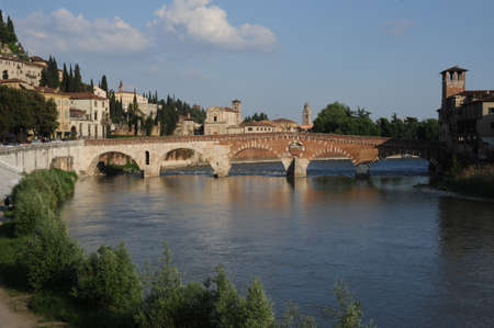 Bridge of Pietra over river Adige and at Verona photo