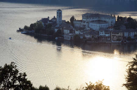 orta: Sunset at lake Orta with the island of San Giulio