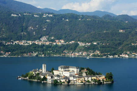 Overview at lake Orta with the island of San Giulio