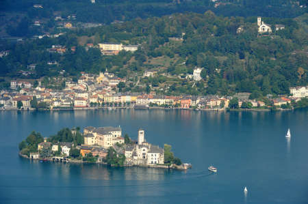 orta: Overview at lake Orta with the island of San Giulio