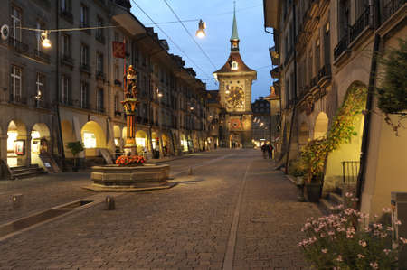 Alley to clock tower at Bern on Switzerland