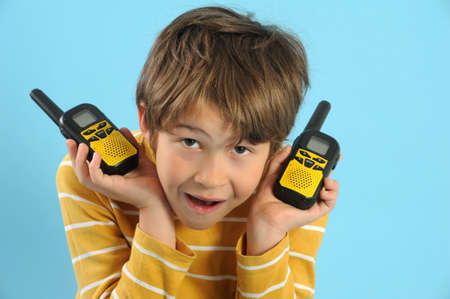walkie: Boy talking with a walkie talkie