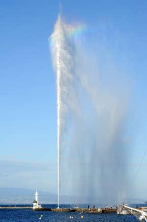 leman: The water jet of lake Leman at Geneva on Switzerland Stock Photo