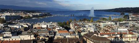 leman: View at the city of Geneva on lake Leman on Switzerland Stock Photo