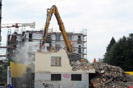 pneumatic: A pneumatic drill demolition a house Stock Photo
