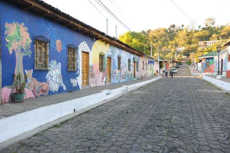 Febrary 2014  El Salvador, Ataco  Murals on home at Ataco in El Salvador