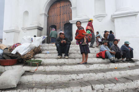 indios: Indians in front of church of Santo Tomas at Chichicastenango on Guatemala