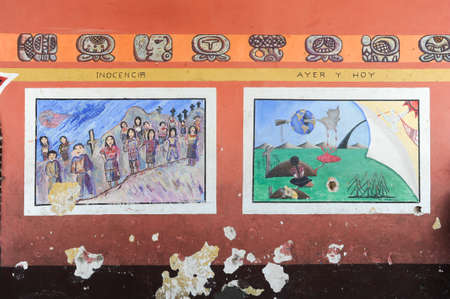 indios: Maya paintings at the town hall of Chchicastenango on Guatemala