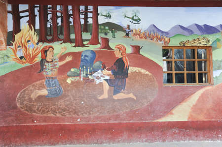 indios: Maya paintings at the town hall of Chchicastenango on Guatemala