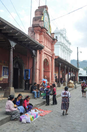 indios: Indios at the town hall of Chchicastenango on Guatemala Editorial