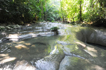 siete: Waterfalls of siete altares on the forest at Livingston on Guatemala