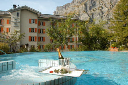 champain: Swimming pool of a hotel at Leukerbad on the Swiss alps