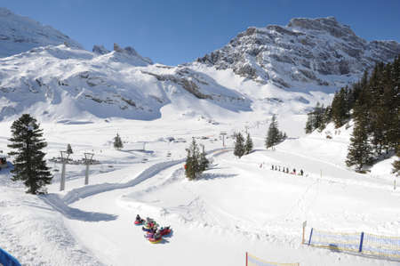 Snow tubing at Engelberg on the Swiss alps