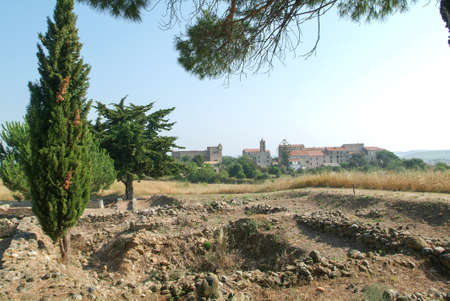 archaeological site: Archaeological site of Aleria on the island of Corsica Stock Photo