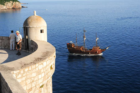 Old sailing boat on che coast of Dubrivnik on Croatia