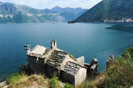 Church on the coast of Kotor bay, Montenegro photo