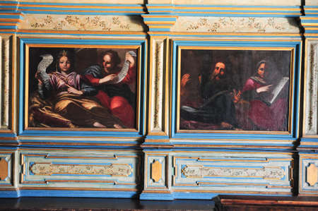 Paintings of the church at Our lady of the rock island on Kotor bay, Montenegro