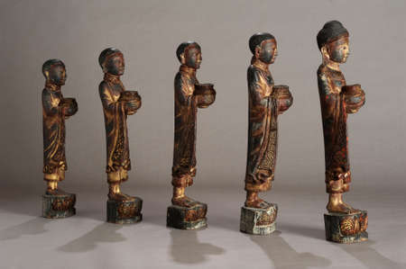 disciples: Old Burmese statues of Buddha with disciples Stock Photo