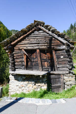 Old barn chalet at Fusio on Maggia valley, Switzerland photo