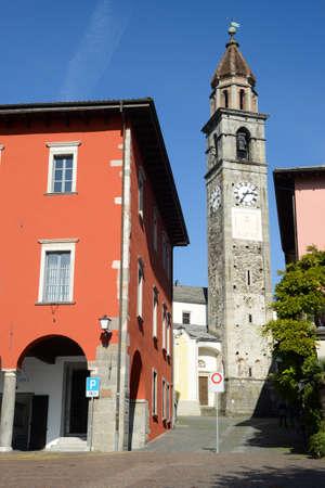 ticinese: Ascona, Switzerland - 19 October 2014: Tourists walking and sitting on restaurants on the waterfront of Ascona on Switzerland Editorial