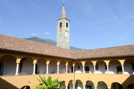 ticinese: Church of S. Maria della misericordia and Papio college at Ascona on the italian part of Switzerland