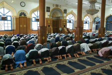 Belivers praying at the mosque of Bengali Sunni Jamae at Yangon on Myanmar