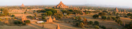 Panoramic view at the archaeological site of Bagan on Myanmar Stock Photo