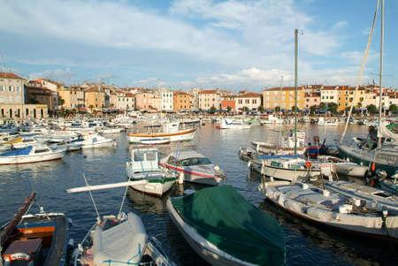 Rovinj, Croatia - August 23, 2004: The picturesque port of Rovinj on Croatia