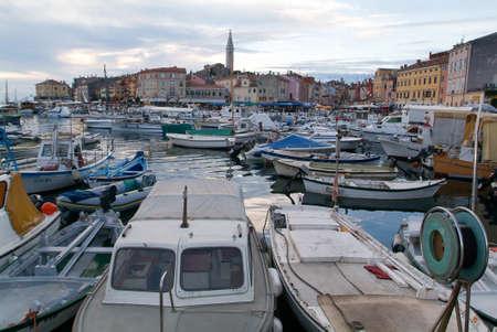 Rovinj, Croatia - August 22, 2004: The picturesque port of Rovinj on Croatia