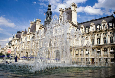 cityhall: Paris, France - 4 June 2009: Fountain in front of the city-hall at Paris on France