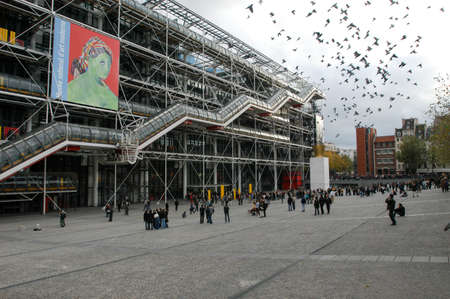 georges: Paris, France - 1 November 2002: People walking in front of the Centre Georges Pompidou at Paris on France Editorial