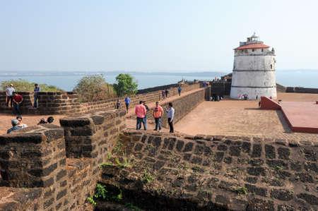 aguada: Goa, India - 8 January 2015: People visiting the fort Aguada on Goa, India