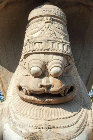 lord vishnu: Statue of Lakshmi Narasimha, the fourth incarnation of Lord Vishnu at Hampi on India