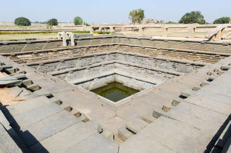 temple tank: Water tank of Royal Enclosure temple at Hampi on India