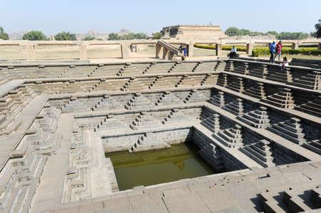 temple tank: Water tank of Royal Enclosure temple at Hampi on India