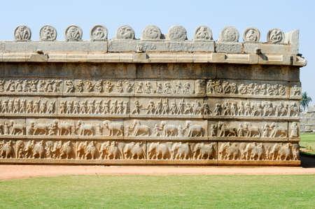 karnataka culture: Basrelief artworks of Hazara Rama Temple at Hampi on India