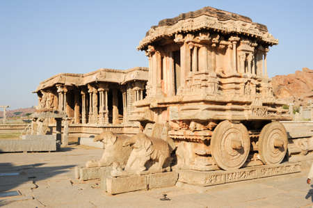 past civilizations: Chariot in Vittala temple at Hampi on India
