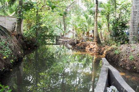 backwaters: River of the backwaters at Kollam on India