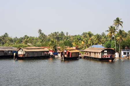 kerala backwaters: Traditional Indian houseboat near Kollam on Kerala backwaters