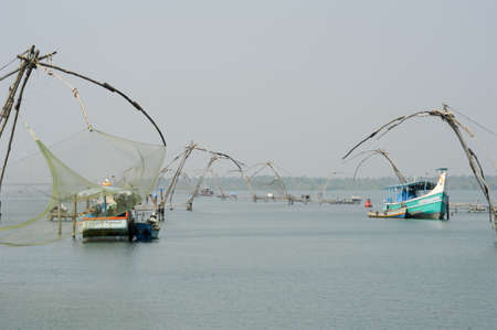 alappuzha: Chinese fishing net on the backwaters the way from Kollam to Alleppey on Kerala, India