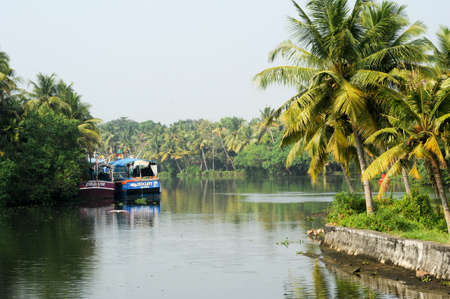 alappuzha: Kollam, India - 20 January 2015: Fisherboat on the way from Kollam to Alleppey on Kerala, India
