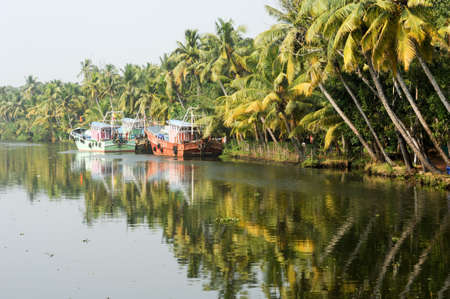 alappuzha: Fisherboat on the way from Kollam to Alleppey on Kerala, India