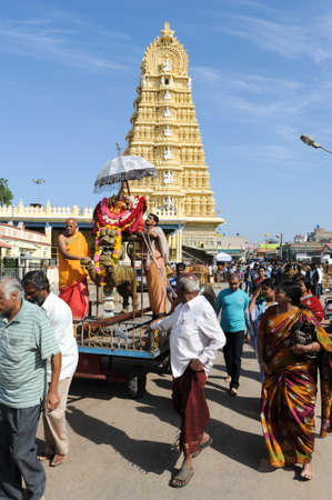 mysore: Mysore, india - 23 January 2015: People preparing a procession in front of the famous Sri Chamundeswari temple on the top of Chamundi Hill, Mysore Editorial