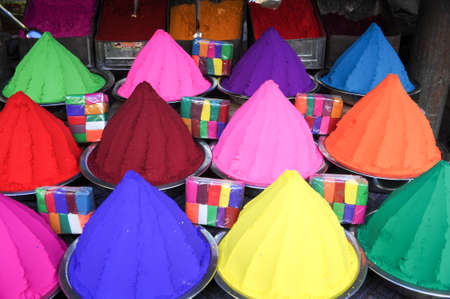 south india: Vibrant paint colors on a paint market in Mysore, South India