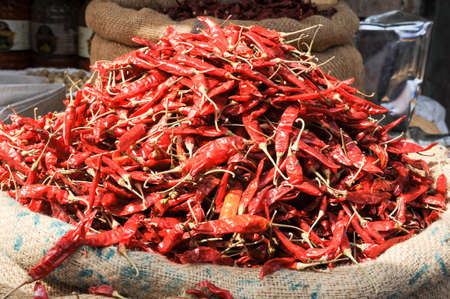 mysore: Red chili peppers at the market of Devaraja at Mysore on India Stock Photo