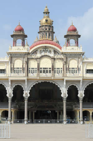 mysore: Detail of the ancient Mysore palace on India