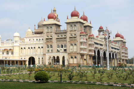 mysore: Mysore, India - 24 January 2015: people walking and visiting the Mysore Palace on India Editorial
