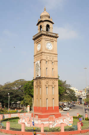 clocktower: Mysore, India - 24 January 2015:  the colonial Silver Jubilee clocktower at Mysore on India