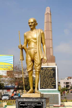 mahatma: Mysore, India - 24 January 2015: Mahatma Gahdhi statue in Mysore on India